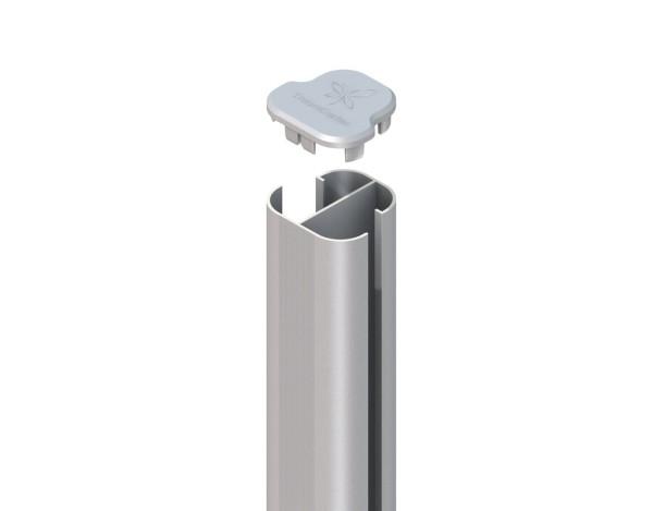System WPC Eck-Pfosten Basic zum Aufschr. silber 9x9x105cm Nr.2367