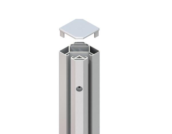 Tr. Glassystem Eckklemmpfosten Silber 88x98x1050 mm, Nr.2349