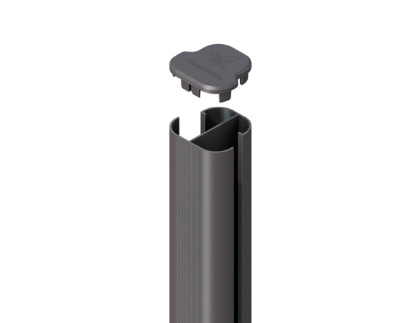 System WPC Eck-Pfosten Basic zum Aufschr. anthrazit 9x9x192,5cm Nr.2107