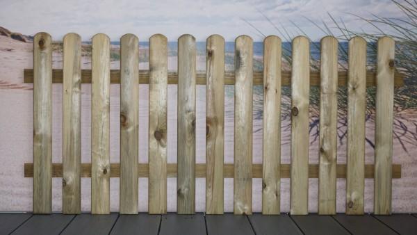 Staketenzaun Föhr gerade 180 x 85 cm druckimprägniert, Kanten rund, 20x90 mm Latten